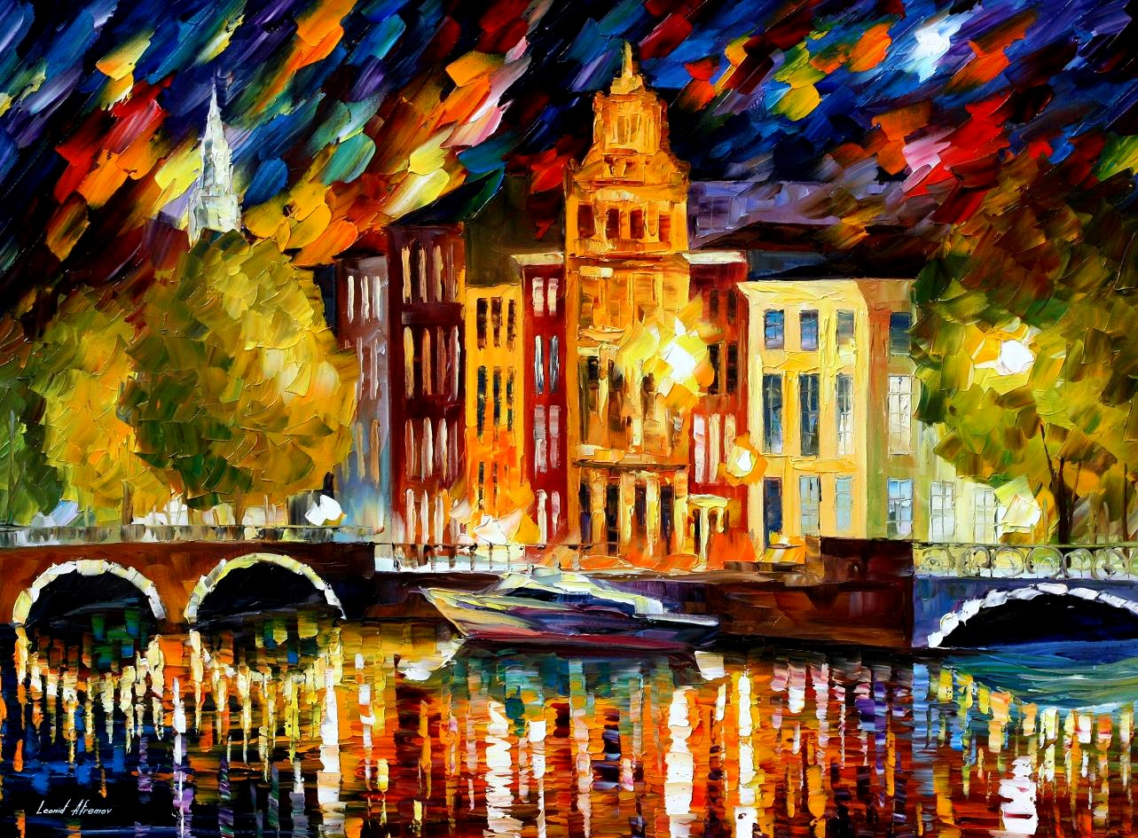 Modern impressionism palette knife oil painting City063