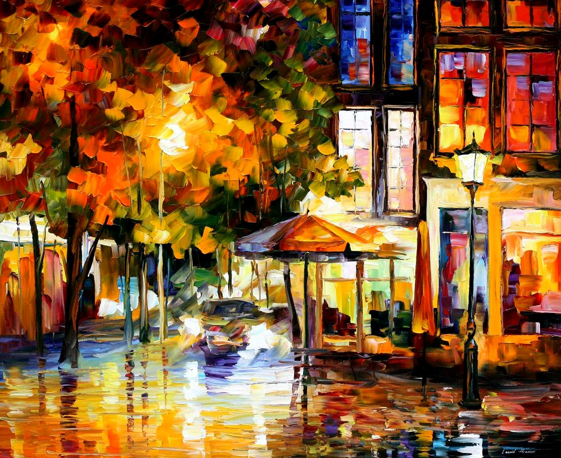 Modern impressionism palette knife oil painting City067