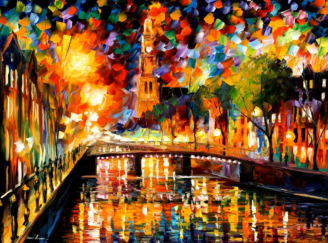 Modern impressionism palette knife oil painting City069