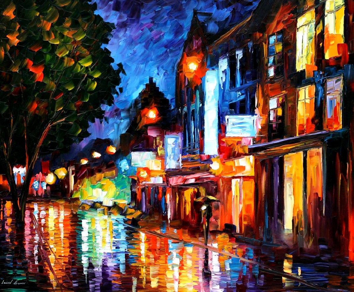 Modern impressionism palette knife oil painting City071