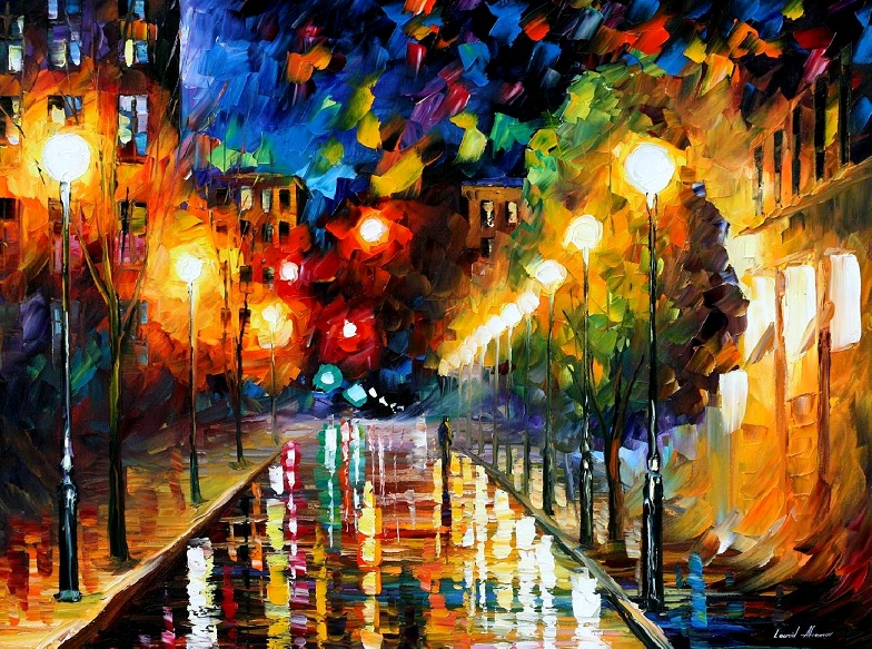 Modern impressionism palette knife oil painting City082