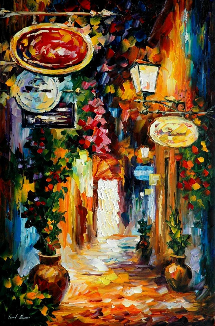 Modern impressionism palette knife oil painting City085