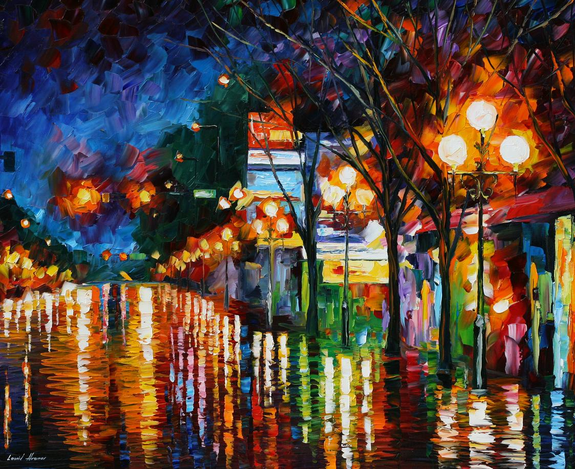 Modern impressionism palette knife oil painting City086