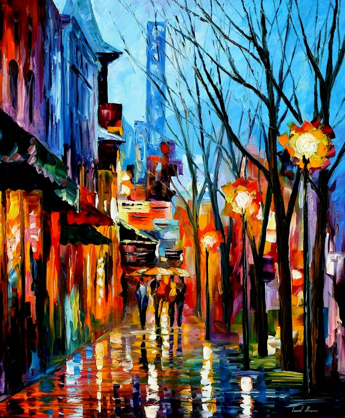 Modern impressionism palette knife oil painting City090
