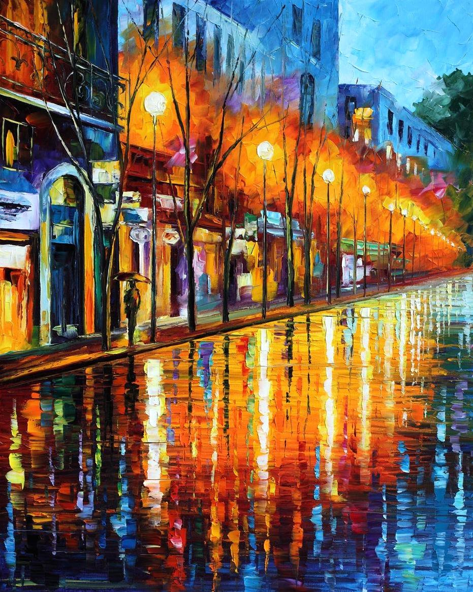 Modern impressionism palette knife oil painting City091