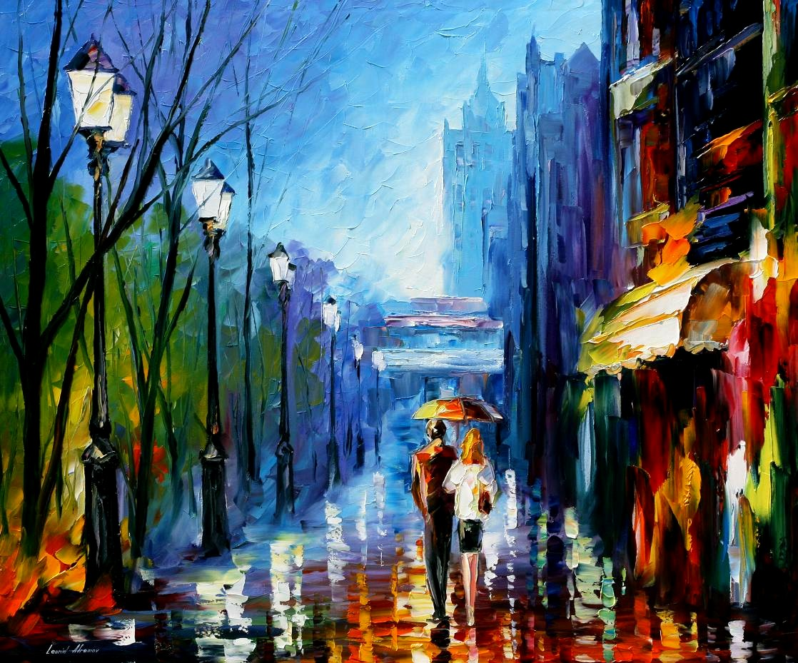 Modern impressionism palette knife oil painting City093
