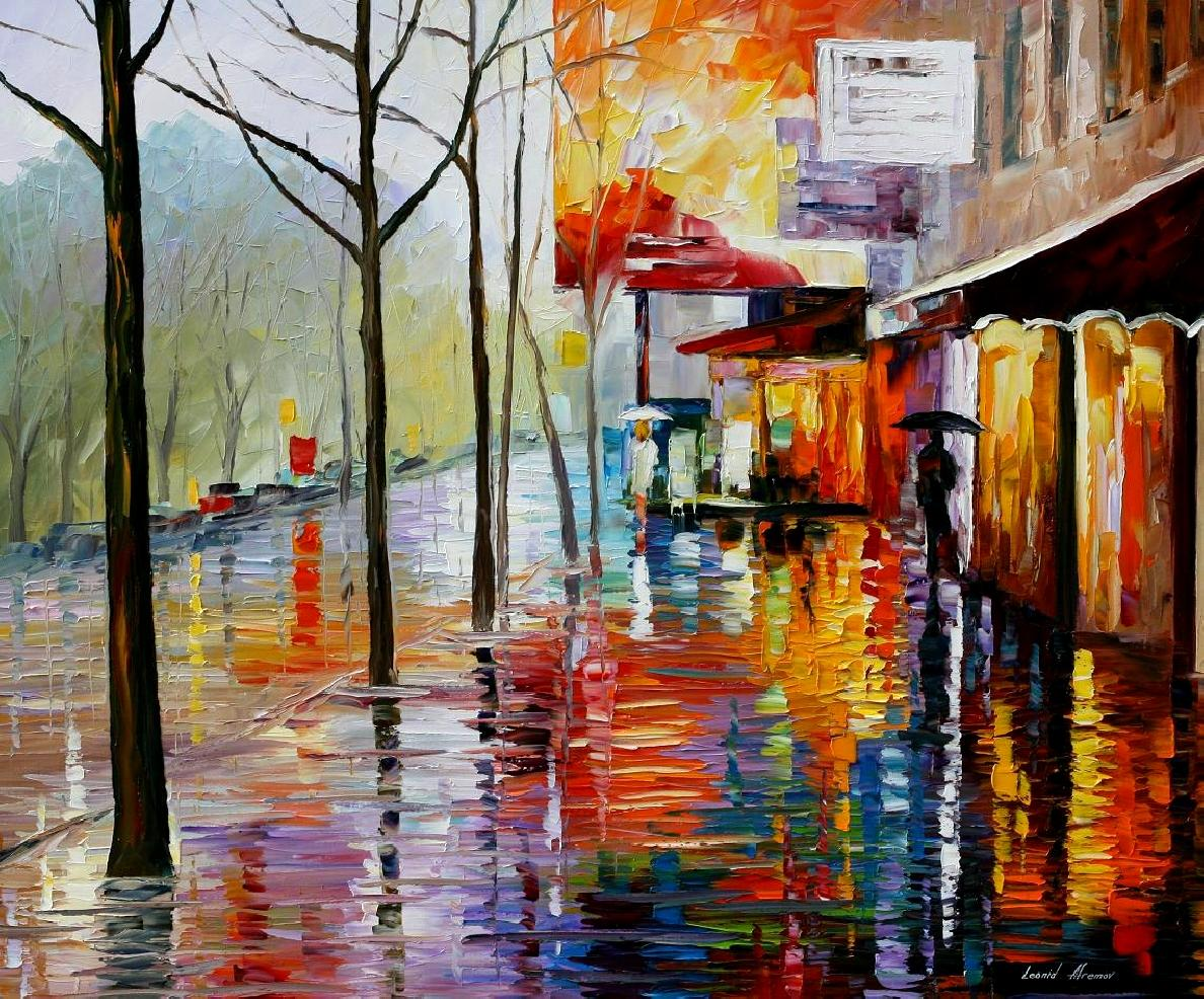 Modern impressionism palette knife oil painting City094