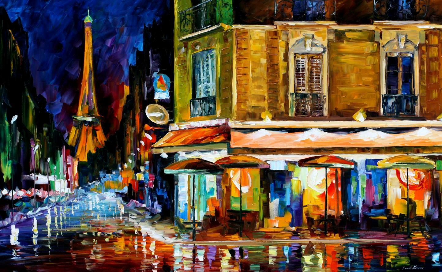 Modern impressionism palette knife oil painting City095