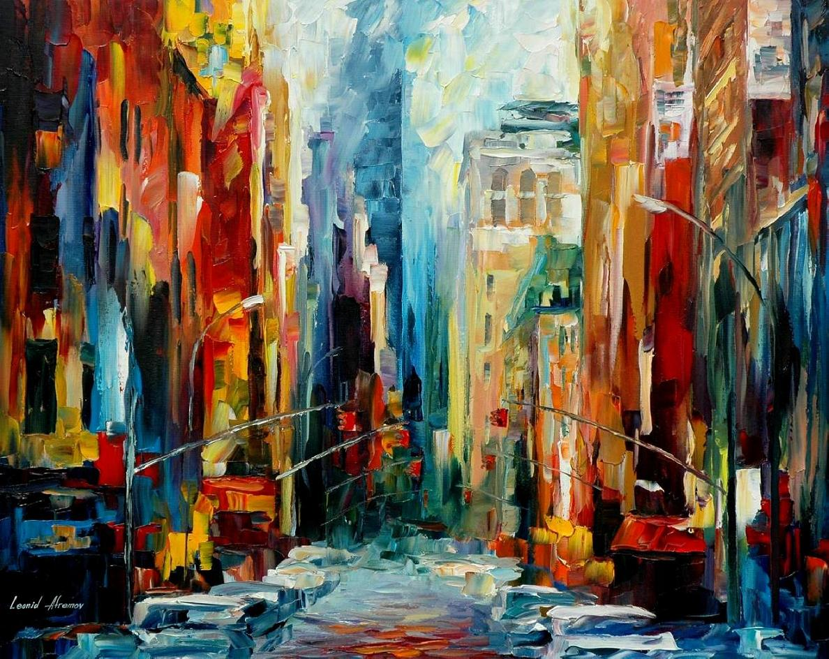 Modern impressionism palette knife oil painting City096