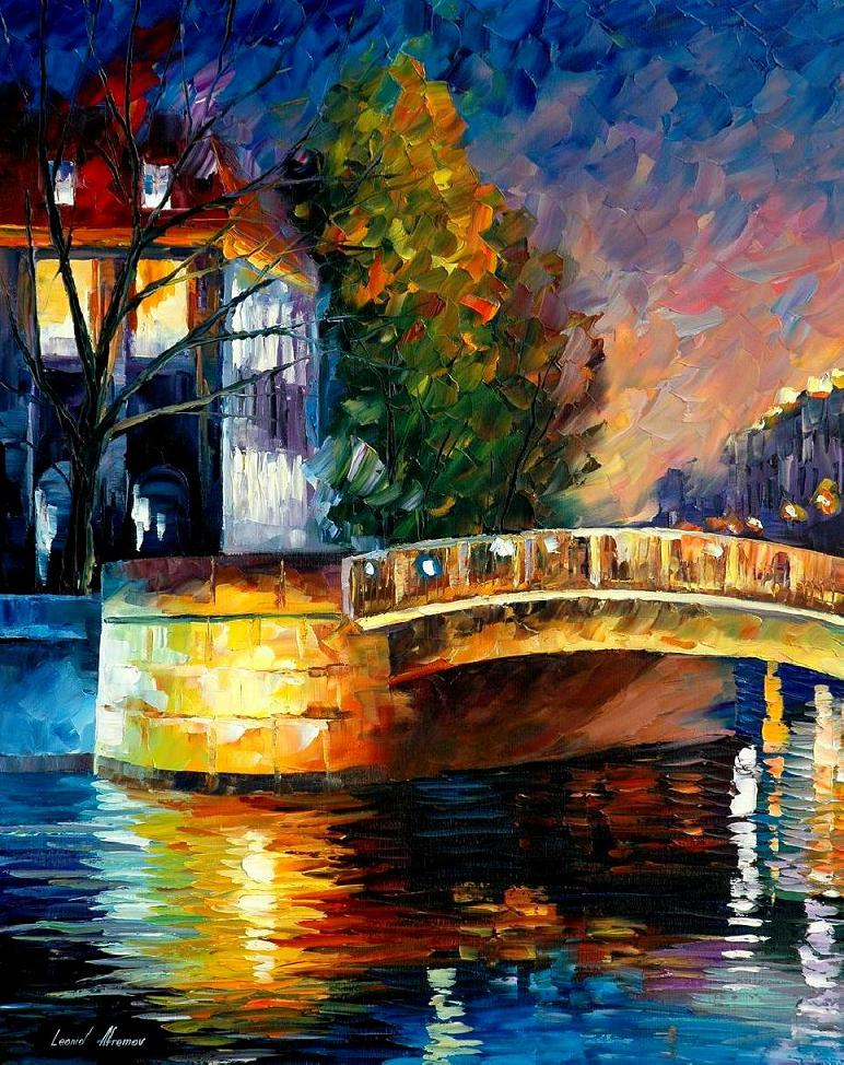 Modern impressionism palette knife oil painting kp15052