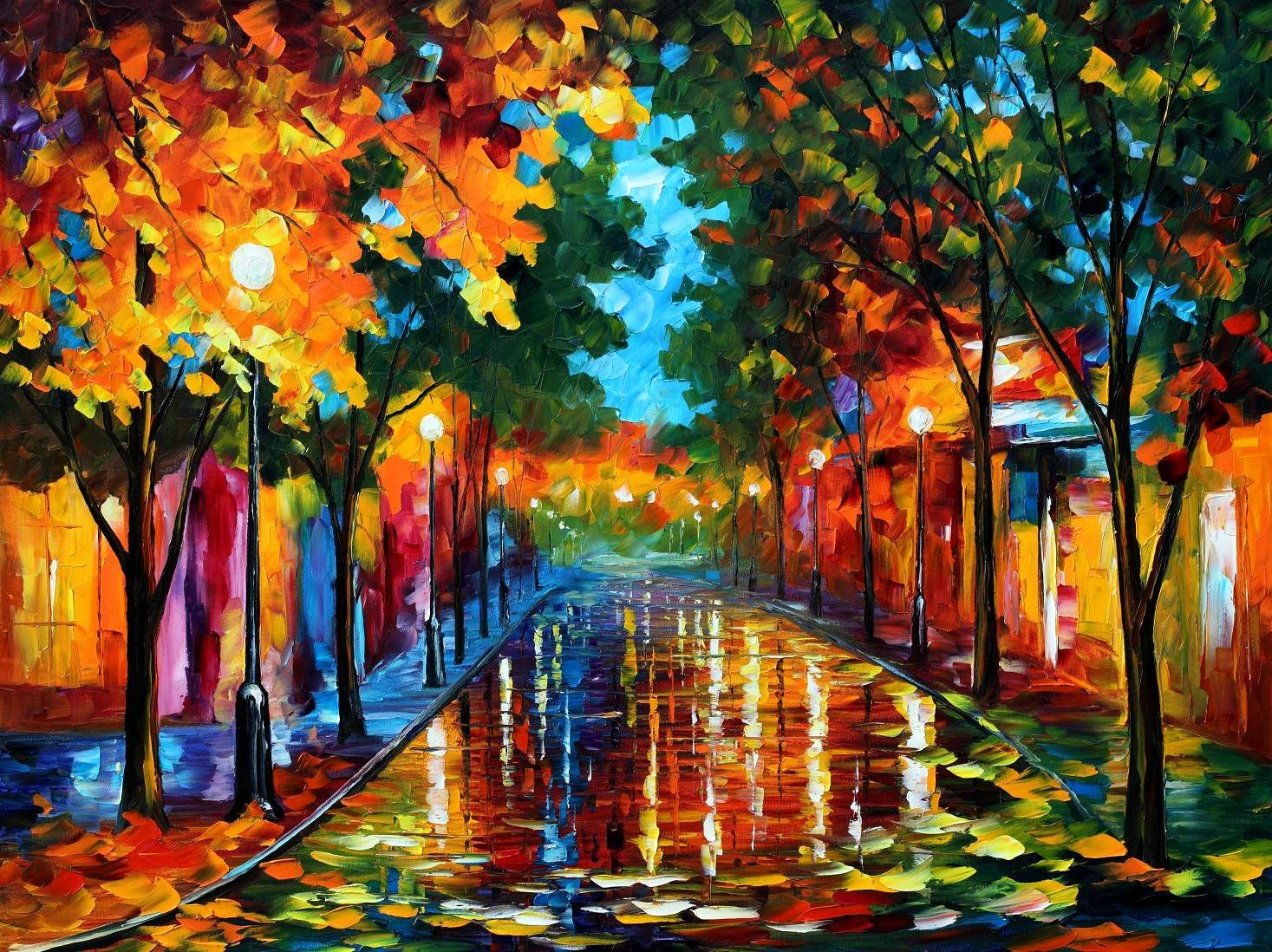 Modern impressionism palette knife oil painting kp15146