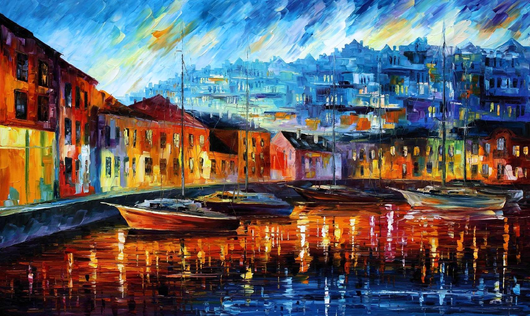 Modern impressionism palette knife oil painting kp15155
