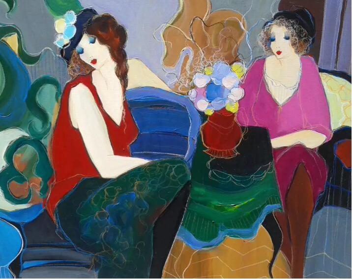 Itzchak Tarkay Portraiture Painting Ladies Lounging 1996 IT253