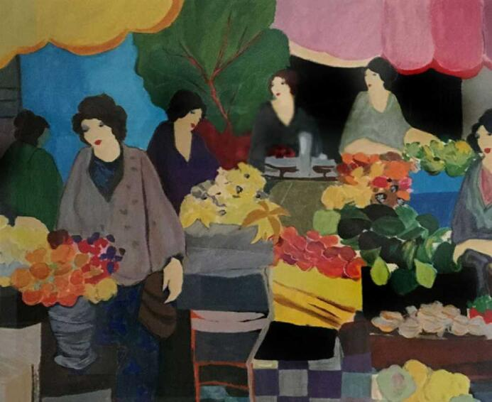 Itzchak Tarkay Portraiture Oil Painting Flower Market 2000 IT261