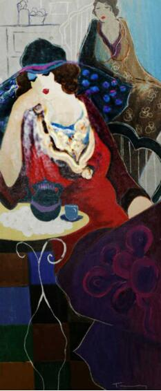 Itzchak Tarkay Portraiture Tired At Tea Embellished 1998 IT309