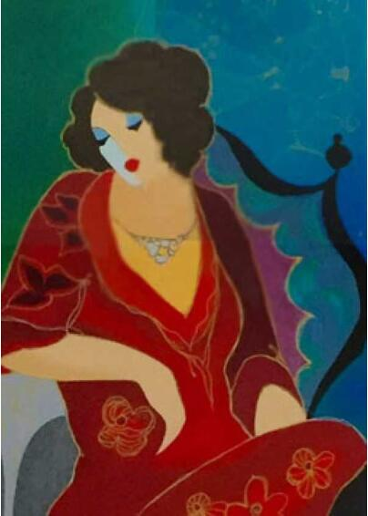 Itzchak Tarkay Portraiture Painting Lady in Red III 2000 IT321
