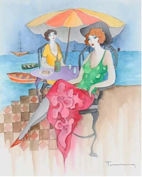 Itzchak Tarkay Oil Painting Relaxation At the Beach IT328