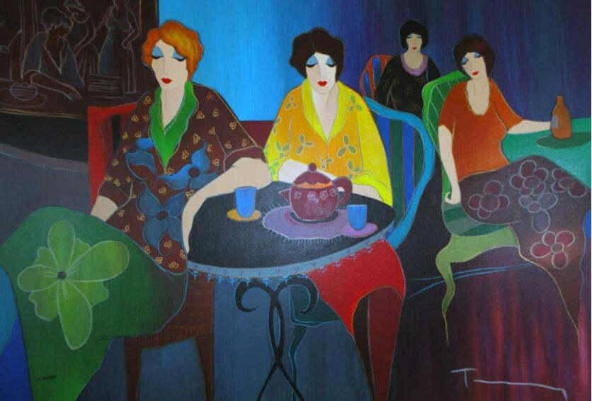 Itzchak Tarkay Portraiture Painting Cafe Bistro II 2008 IT359