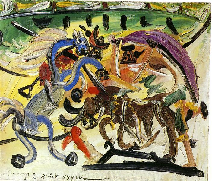 Pablo Picasso Painting A Bullfight Course De Taureaux Surrealism