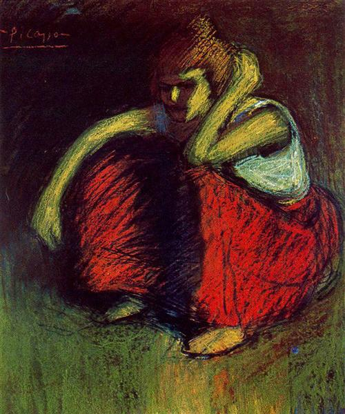 Pablo Picasso Oil Painting A Red Skirt Female Portraits