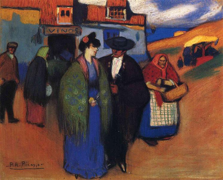 Pablo Picasso Oil Painting A Spanish Couple In Front Of Inn
