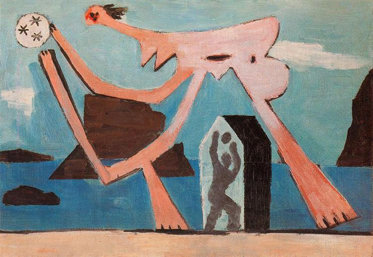 Pablo Picasso Oil Painting Ballplayers On The Beach