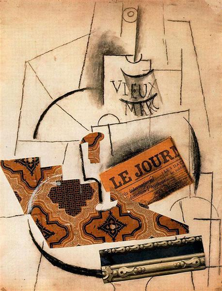 Pablo Picasso Painting Bottle Of Vieux Marc, Glass And Newspaper
