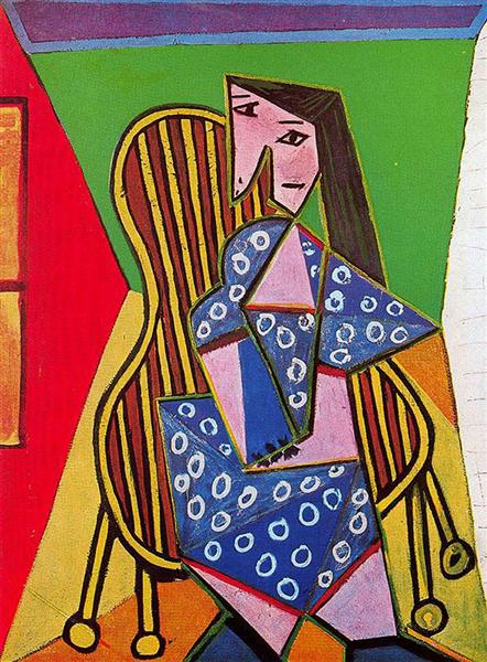 Pablo Picasso Classical Oil Painting Woman In Striped Armchair