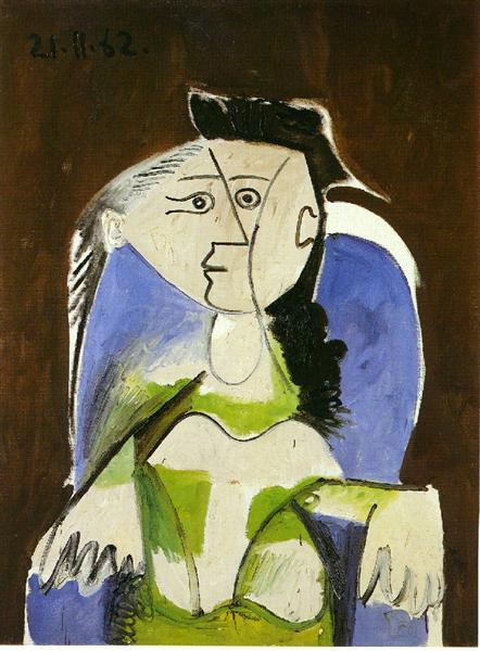 Pablo Picasso Oil Painting Woman Sitting In Blue Armchair