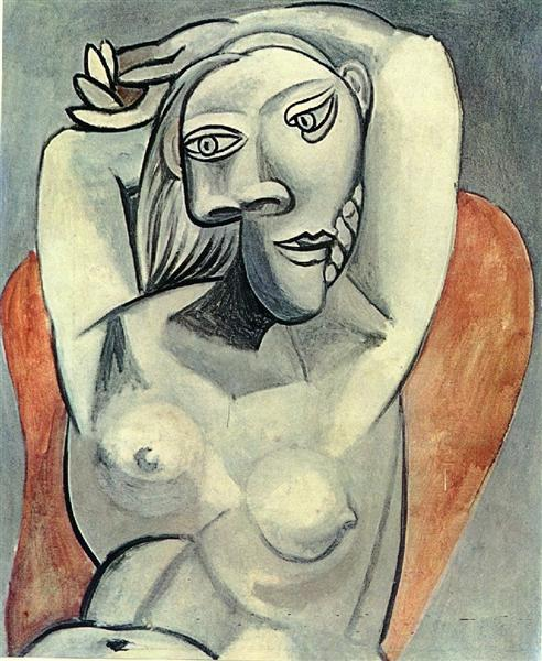Pablo Picasso Classical Painting Woman Sitting In Red Armchair