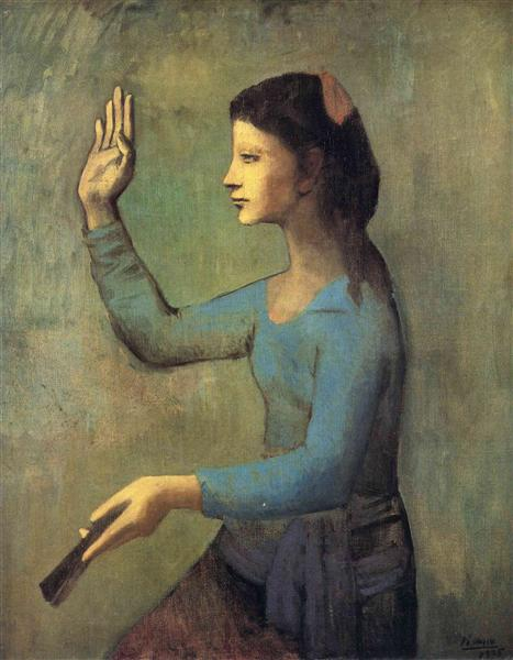 Pablo Picasso Oil Paintings Woman With A Fan Femme A L'Eventail