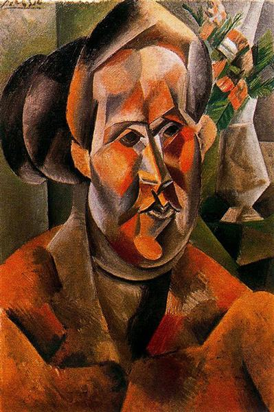 Pablo Picasso Oil Painting Bust Of Woman With Flowers