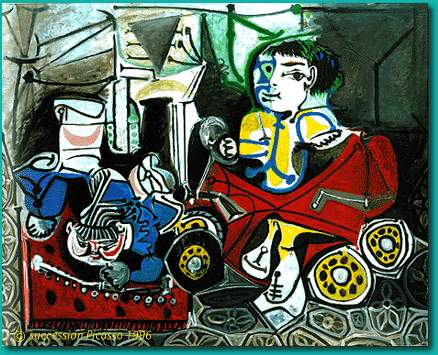 Pablo Picasso Oil Painting Claude And Paloma Playing