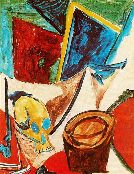 Pablo Picasso Classical Oil Painting Composition With Skull