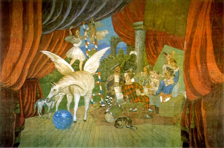 Pablo Picasso Oil Painting Curtain For The Ballet Parade