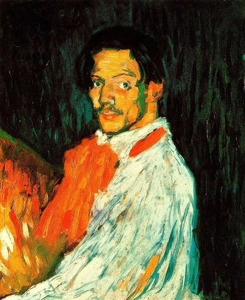 Pablo Picasso Oil Painting Expressionism Male Self Portrait