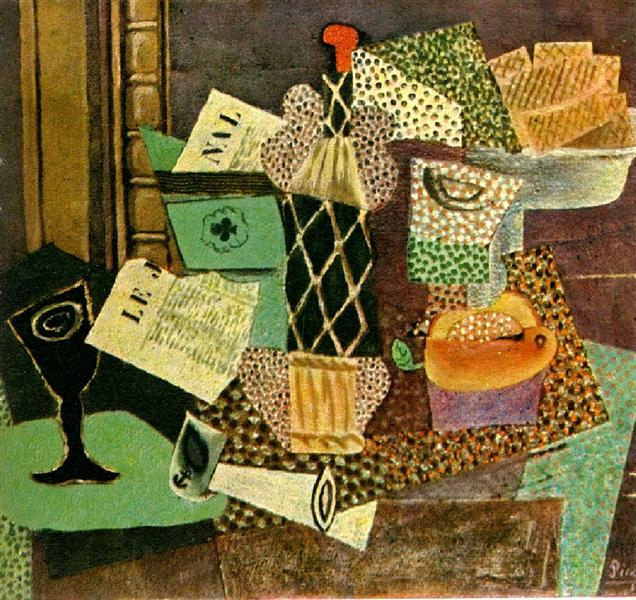 Pablo Picasso Oil Paintings Glass And Bottle Of Straw Rum