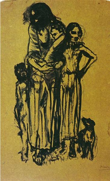 Pablo Picasso Classical Oil Paintings Group Of Poor People