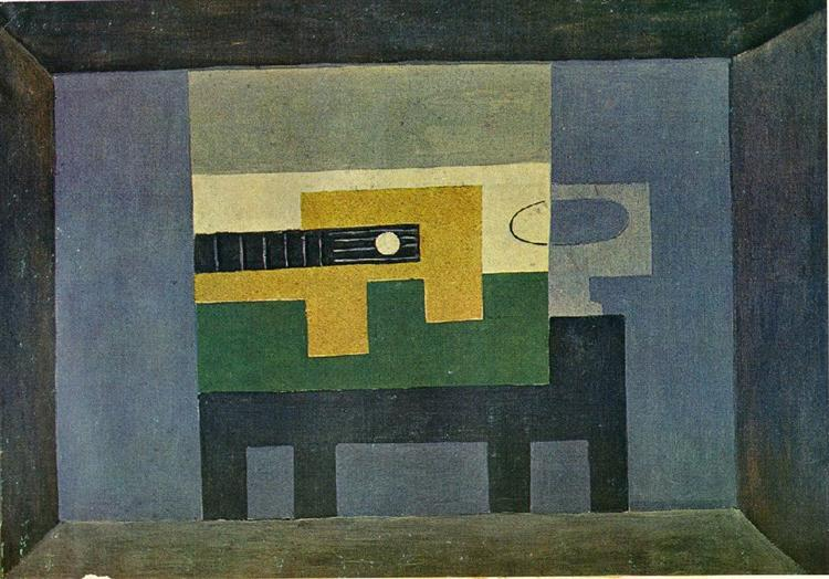 Pablo Picasso Oil Paintings Guitar And Bottle