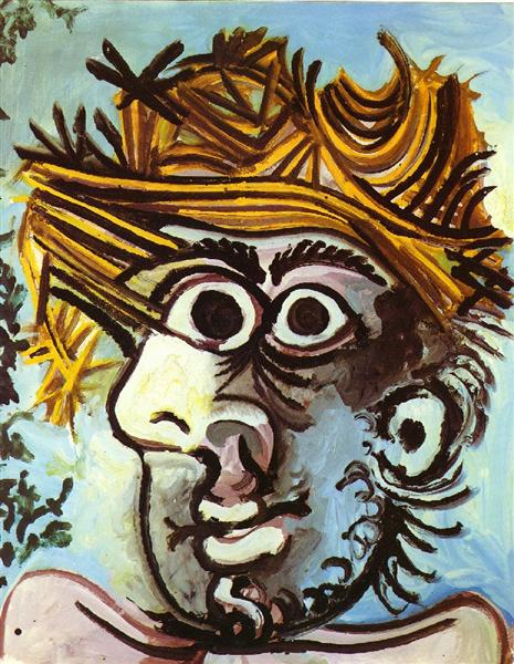 Pablo Picasso Paintings Head Of A Man With Straw Hat