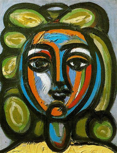 Pablo Picasso Paintings Head Of A Woman With Green Curls