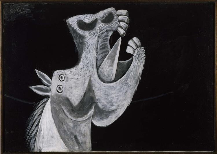 Pablo Picasso Oil Painting Horse Head.Sketch For Guernica