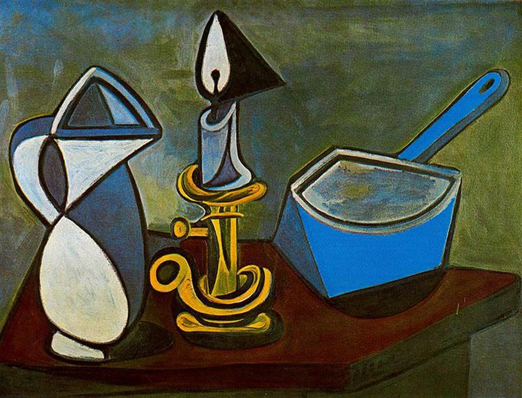 Pablo Picasso Oil Paintings Jug Candle And Enamel Pan