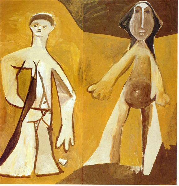 Pablo Picasso Paintings Man And Woman Homme Et Femme 1958