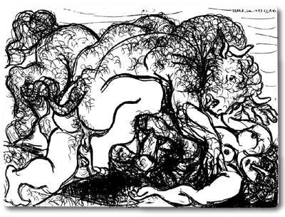 Pablo Picasso Classical Paintings Minotaur Attacking An Amazone
