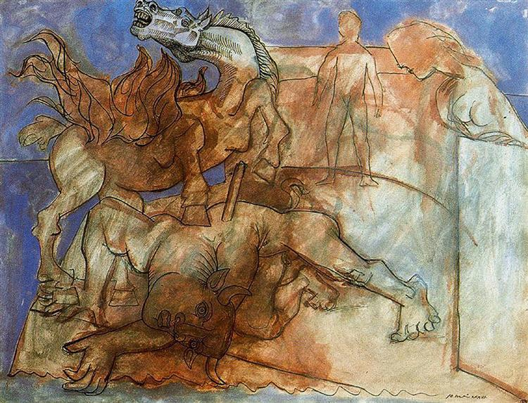 Pablo Picasso Paintings Minotaur Is Wounded,Horse And Personages