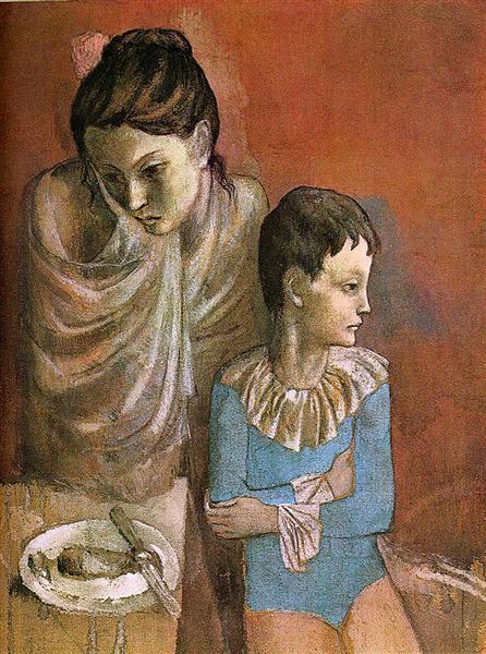 Pablo Picasso Painting Mother And Child (Baladins) At Mealtimes