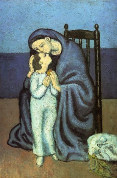 Pablo Picasso Classical Oil Painting Motherhood Blue Period 1901