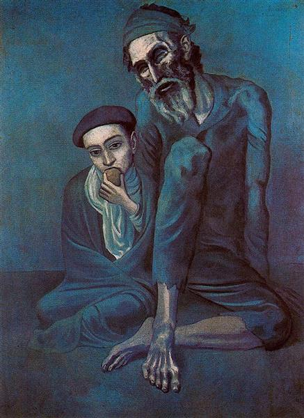 Pablo Picasso Classical Oil Paintings Old Blind Man With Boy