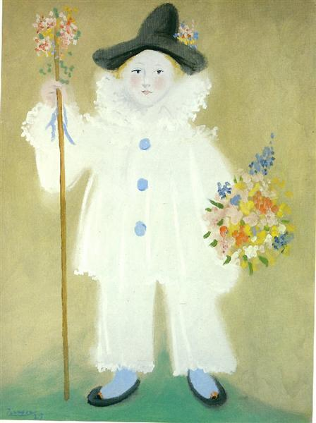 Pablo Picasso Oil Painting Portrait Of Paulo As Pierrot